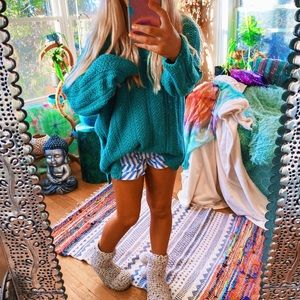 Turquoise Woven ZigZag Tribal Cottage Core Swtr✨